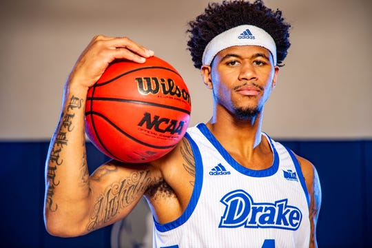Anthony Murphy stands for a photo at Drake Men's Basketball media day Wednesday, Oct. 23, 2019.