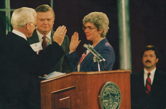 From 1987: Jo Ann Zimmerman is sworn in as Iowa's first female lieutenant governor by Supreme Court Chief Justice W. Ward Reynoldson on Jan. 16, 1987. Iowa Gov. Terry Branstad is shown at right.