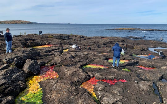 Students from Northern Michigan University put down leaves as part of an art installation at the Black Rocks in Marquette Oct. 18.