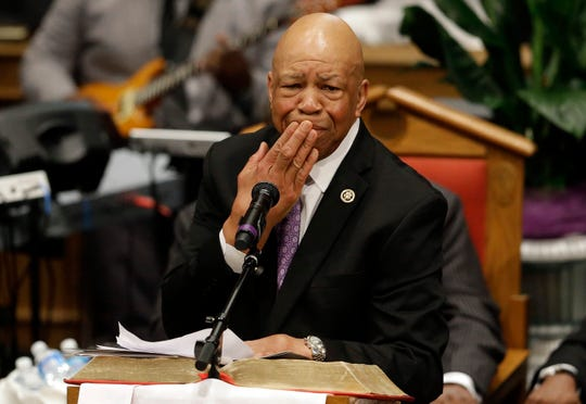 In this Monday, April 27, 2015 file photo, Rep. Elijah Cummings, D-Md., pauses as he addresses mourners at a funeral for Freddie Gray at New Shiloh Baptist Church in Baltimore.