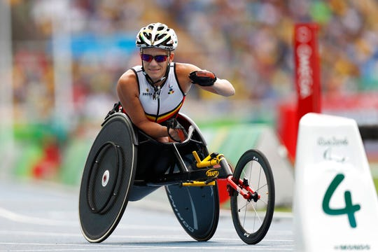 In this Sept. 10, 2016, file photo, Belgium's Marieke Vervoort warms up for the athletics women's 400-meter T52 final, during the Rio 2016 Paralympic Games in Rio de Janeiro. Vervoort said when the day arrived, she had signed the euthanasia papers and was prepared to end her life. The time came Tuesday, Oct. 22, 2019.