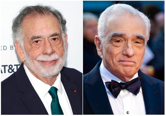 This combination photo shows Francis Ford Coppola, left, and Martin Scorsese. The directors have commented on the rise of the superhero film and its outsized place in our film culture.