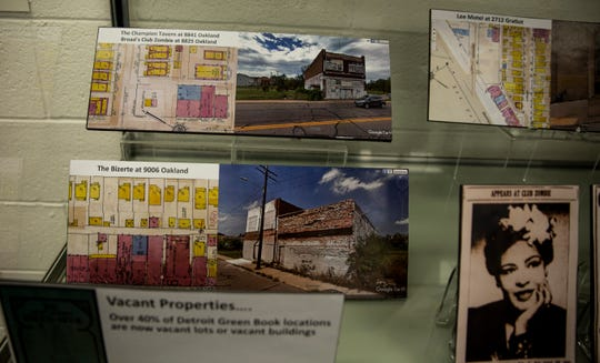 Detroit Green Book locations, many of which are now vacant lots are displayed in the Green Book exhibit at the Michigan State University Library.