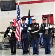 """In the 2018 """"Parade of Colors"""" presentation, from left, are John Culp, ICC (SS) U.S. Navy Retired; Doug Moore, MSGT US Air Force; Bill Porter, CPL US Marine Corps; and Ken Bacon, SGT Army National Guard."""