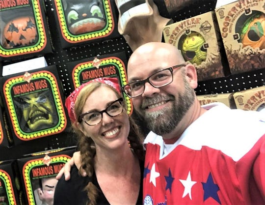 Jeremey Adams and wife, Mallie Adams, attended Mask Fest in Indianapolis in August to display their products for Malmey Masks, their home business in Bellevue.