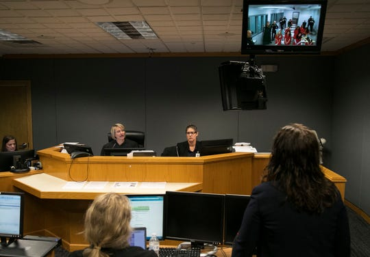 Michelle Ashley, also known as Michelle Jackson, makes her first appearance in court via video conference on Wednesday, Oct. 23, 2019, in Fort Myers. Ashley, 42, of Cape Coral, is charged with one count of first-degree murder for the June 19, 1997, slaying of Keith Jones, a Marine Corps veteran and police academy graduate, at the Tides Motel.