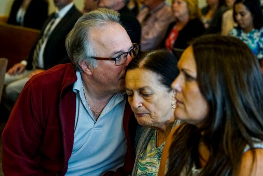 Teresa's brother Patrick Tottenham kisses his mother on the forehead after the verdict was read. Theresa's mother, Mary Ann Groves was at the trial everyday. Jimmy Rodgers was found guilty of second-degree murder, a lesser charge of first-degree murder in the death of Teresa Sievers.  He was also found not guilty of conspiracy to commit murder and he was found guilty of trespassing, a lesser charge of first-degree burglary while armed. Teresa's family held back their emotion as the verdict was read. Lee County Justice Center, Fort Myers, FL, October 23, 2019.