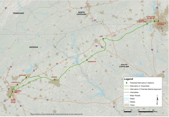 This Georgia Dept. of Transportation and Federal Railroad Administration map depicts the proposed Greenfield Corridor rail route.