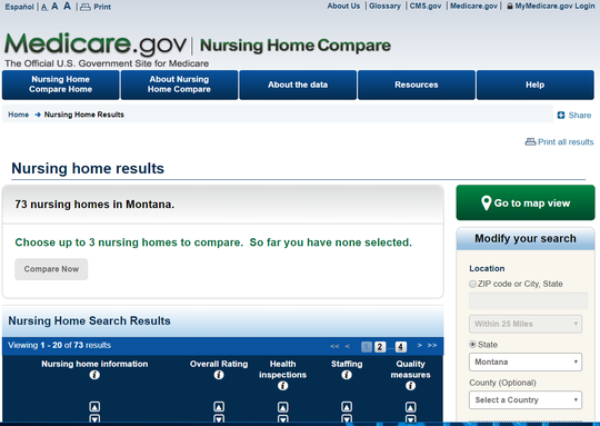 This website lists Montana nursing homes and their ratings.