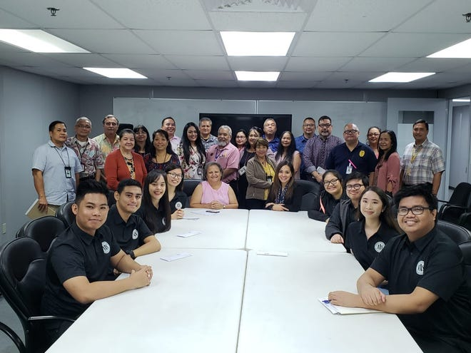 University of Guam Junior Accountants Society (JAS) and senior management of the Department of Revenue & Taxation on Oct. 18.  JAS participated and interacted with DRT senior management in an open forum and Q&A session/discussion of the functions of the various branches within DRT.  A physical tour of DRT was also given.  Members of JAS are: Michelle Puno (president), Alfredo Tinoso (president-elect), Lheemuel Leuterio (secretary), Rhyan Dema-ala (membership director), Mariella Cruz (communications director), Ciara Guerrero, Joseph Hernandez and Liana Blas.