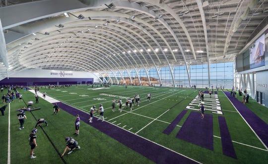 Northwestern's new indoor practice field inside Ryan Fieldhouse.