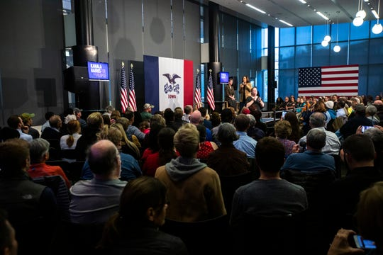 Democratic presidential candidate U.S. Sen. Kamala Harris, D-Calif., speaks during a town hall campaign event with Johnson County Supervisor Pat Heiden moderating, Tuesday, Oct., 22, 2019, at the Feller Club Room in Carver-Hawkeye Arena on the University of Iowa campus in Iowa City, Iowa.