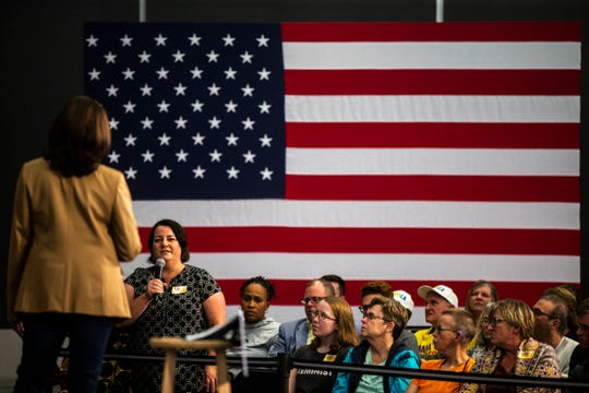 Democratic presidential candidate U.S. Sen. Kamala Harris, D-Calif., listens to a question from an audience member during a town hall campaign event, Tuesday, Oct., 22, 2019, at the Feller Club Room in Carver-Hawkeye Arena on the University of Iowa campus in Iowa City, Iowa.