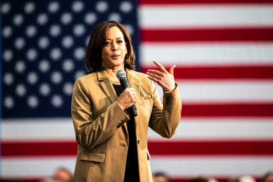 Democratic presidential candidate U.S. Sen. Kamala Harris, D-Calif., speaks during a town hall campaign event, Tuesday, Oct., 22, 2019, at the Feller Club Room in Carver-Hawkeye Arena on the University of Iowa campus in Iowa City, Iowa.