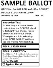 The Election Commission approved a sample ballot for the Dec. 10 recall election against JMCSS board member Doris Black on Tuesday.