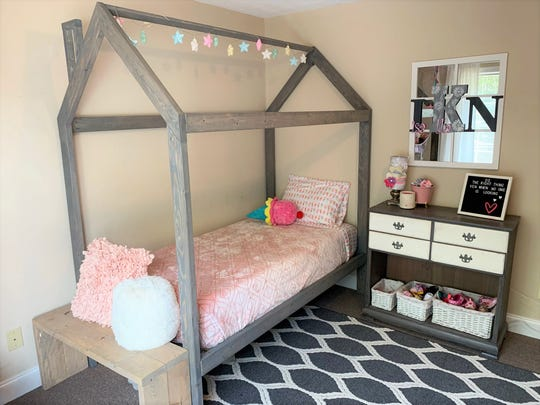 The playhouse bed that Meagan Kahn made for daughter Isabella.