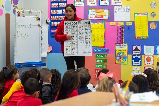 Berenice Manzanero Barrero, kindergarten Spanish teacher, goes over phonics with her students at Charles M. Burke Elementary. Tuesday, Oct. 22, 2019.