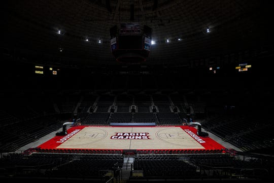 UL's basketball floor at the Cajundome has a new look for the 2019-20 season.