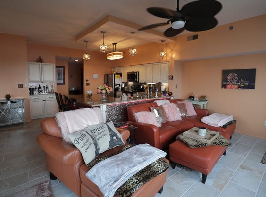 The living room of Robyn Zapp's condo at Riverpointe Plaza in Jeffersonville.