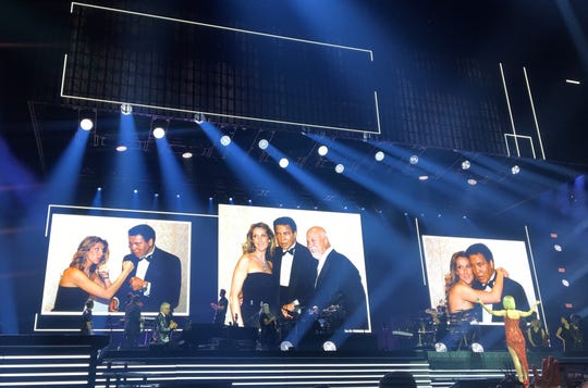 "Singer Celine Dion pays homage to her friend and Louisville's own Muhammad Ali during her ""Courage World Tour"" performance at the KFC Yum Center in Louisville."
