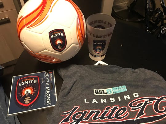 For less than $25, the reporter was able to purchase a T-shirt, full-size soccer ball, pint glass and magnet. All Lansing Ignite items at the Nuts & Bolts store are now 60 percent off.