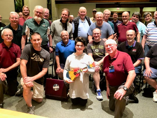 Photo of Clipper City Chordsmen with Alice Ehle (taken by Don Lewellen)