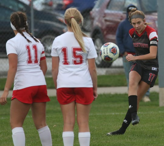Crestview senior Kathleen Leeper scored a goal in her final game in a Crestview girls soccer jersey on Tuesday night.