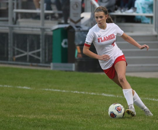 Mansfield Christian's Olivia Bekeleski had a hand (or foot) in both Lady Flame goals in their 2-1 victory over Crestview on Tuesday night.