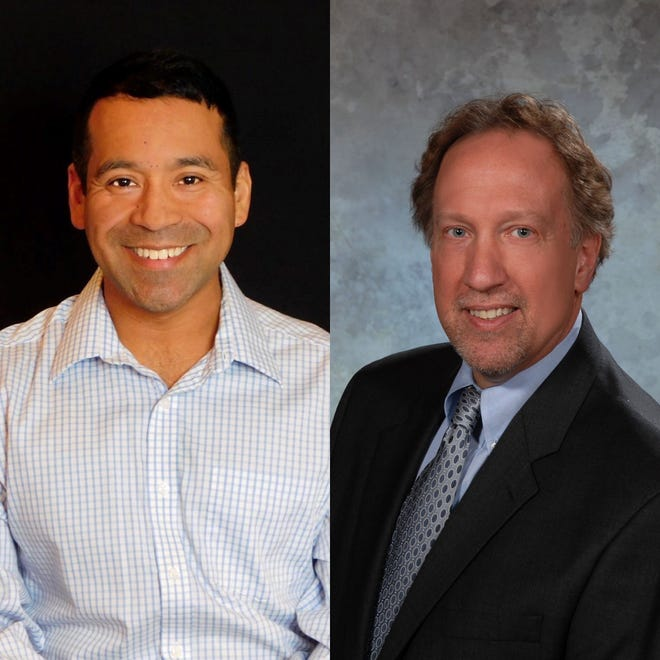 Democrat Aurelio Diaz, left, and Republican Cliff Mears are vying for president of Mansfield City Council.