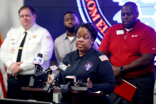 Brenda Jones, director of the Emergency Operations Center for the Shelby County Emergency Management and Homeland Security office, speaks Wednesday, Oct. 23, 2019, during a news conference at the office's Emergency Operations Center in Memphis.