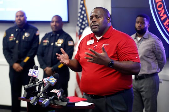 John Brown, executive director for the Mid-South chapter of the Red Cross, speaks Wednesday, Oct. 23, 2019, during a news conference at the Emergency Operations Center for the Shelby County Emergency Management and Homeland Security office in Memphis.