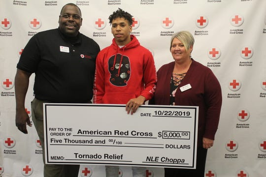 Memphis rapper NLE Choppa donated $5,000 to the American Red Cross on Tuesday for relief after several homes were damaged on Monday by strong storms and an EF1 tornado.