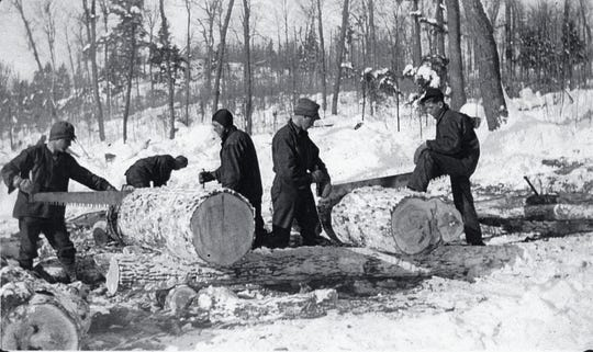 CCC forestry workers remove trees where construction will take place at Copper Falls State Park in 1936.