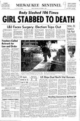 The front page of the Milwaukee Sentinel from Nov. 4, 1966, reporting on the murder of Diane Olkwitz.
