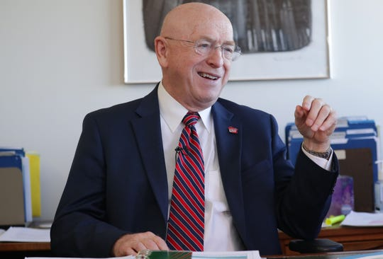 University of Wisconsin System President Ray Cross talks about his retirement from his office at Van Hise Hall at the University of Wisconsin Madison in Madison on Wednesday, Oct. 23, 2019.