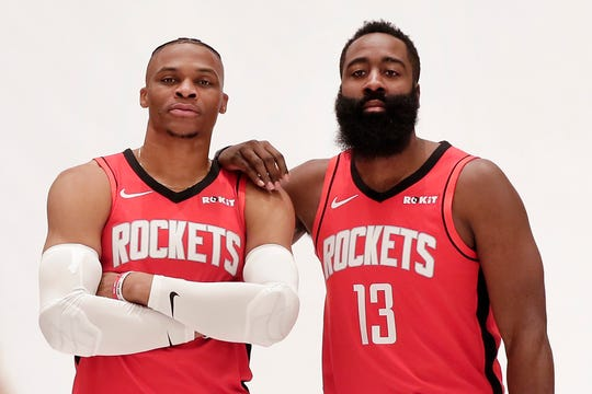 Former NBA MVP's Russell Westbrook, left, and James Harden face the Bucks on Thursday night.