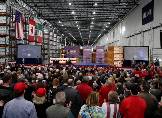 """Vice President Mike Pence addresses attendees at the """"USMCA: A Better Deal for American Workers"""" trade policy event Wednesday, Oct. 23, 2019, at Uline Warehouse in Pleasant Prairie, Wisconsin. The United States-Mexico-Canada Agreement (USMCA) awaits congressional approval."""