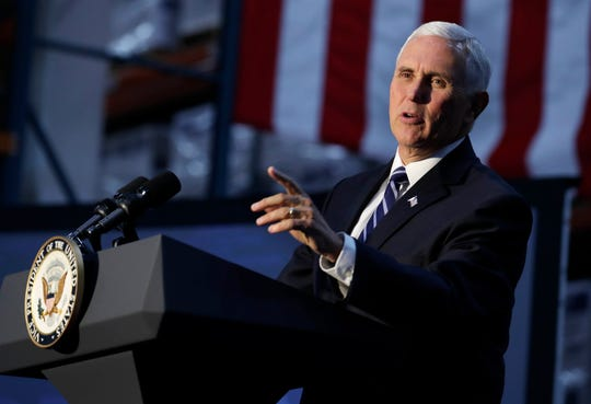 """Vice President Mike Pence addresses attendees at the """"USMCA: A Better Deal for American Workers"""" trade policy event Wednesday, Oct. 23, 2019, at Uline Warehouse in Pleasant Prairie, Wisconsin."""