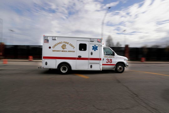 A Chicago Fire Department ambulance transports someone to a Chicago area hospital.