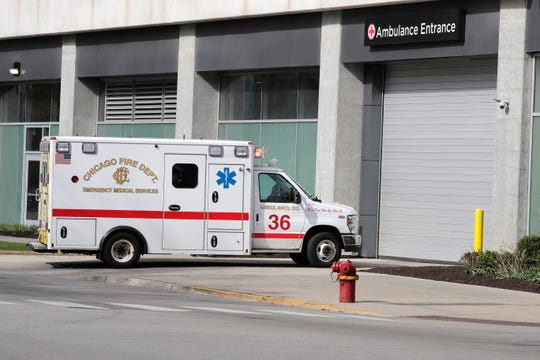 A Chicago Fire Department ambulance arrives at University of Chicago Medical Center.