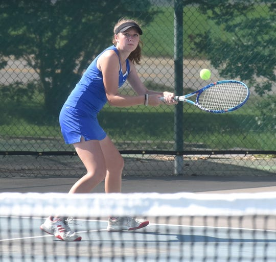 Mountain Home's Sarah Godfrey (pictured) and doubles teammate Macie Heide advanced to the semifinals of the Overall State tournament on Tuesday.
