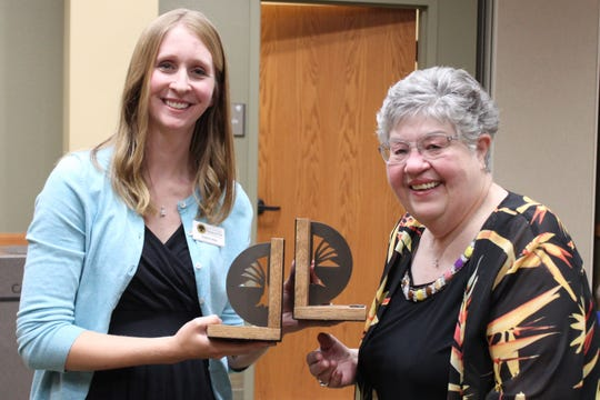 The Baxter County Library Foundation is proud to award Barb Skeffington with the Heart of the library Award for her service and contributions to the Baxter County Library.  Pictured are Library Foundation Vice President Katrina Neis (left) and Barb Skeffington (right).