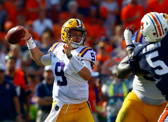 LSU quarterback Joe Burrow (9) throws a pass against Auburn on Saturday, Sept. 15, 2018, in Auburn, Ala.