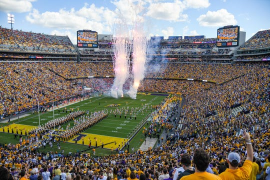 A general view of Tiger Stadium as LSU takes the field before a game against Auburn on Oct. 14, 2017, in Baton Rouge, LA.