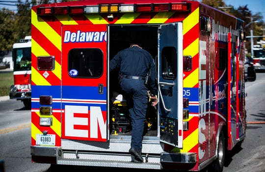 A county ambulance responds to an emergency call in the 1400 block of North Tillotson Avenue in October, 2019. The Delaware County Commissioners have issued a letter to dispatch saying that residents should be able to select the service they want to respond when requesting EMS.