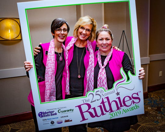 Dr. Sue Vavrock, Dr. Patti Thigpen and Dr. Meaghan Hanson at the 25th annual Ruthies Awards reception, held Tuesday, Oct. 22 at DoubleTree Hotel in Murfreesboro.