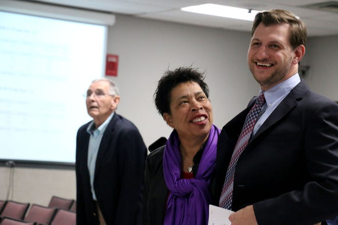 Pearl Bransford and Todd Benne stand together during early election results on Tuesday.