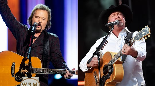 Travis Tritt, left, and Tracy Lawrence, right