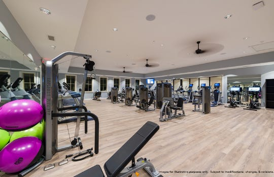 The clubhouse at Southern Springs features a state-of-the-art fitness center, a yoga studio, locker rooms, a conference-ballroom and multipurpose rooms. The community has indoor and outdoor pools.