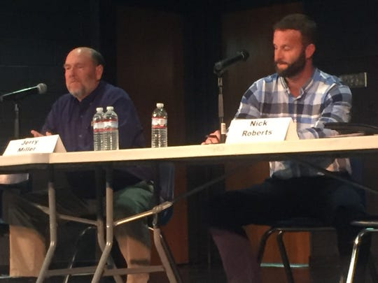Jerry Miller and Nick Roberts, who are competing for the post of Granville Township Fiscal Officer, at the Oct. 22 forum.